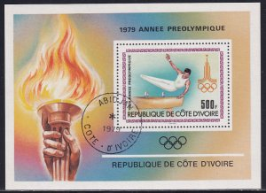 Ivory Coast 1979 Sc 527 Gymnastics Pre-Olympic Year Torch Rings Stamp SS CTO NH