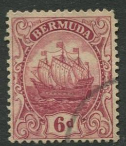 Bermuda - Scott 91 - Caravel - Wmk 4 -1928 - VFU -Single 6p Stamp