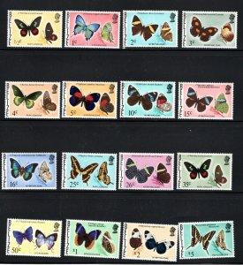 Belize SC345-360 Beautiful Buttterflies MNH 1974-1977