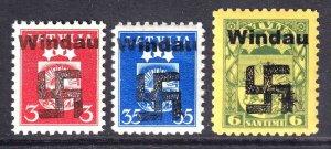 LATVIA 155, 219, 226 WW2 WINDAU OVERPRINTS OG NH U/M F/VF TO VF BEAUTIFUL GUM
