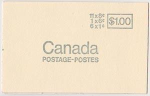 Canada USC #BK70a 1971 $1. Booklet Untagged VF-NH Cat. $7.50