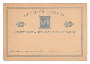 Macau Timor Macao 10 Reis Postal Stationery Card 1885 Unused