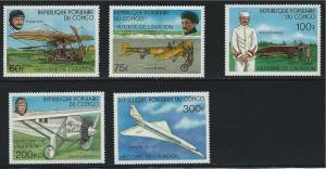 Congo SC412-425 History of Aviation-L.Bierat-R.Garros-CharlesLindburgh MNH 1977