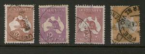 Australia 1913 kangaroos SG 132-135 FU