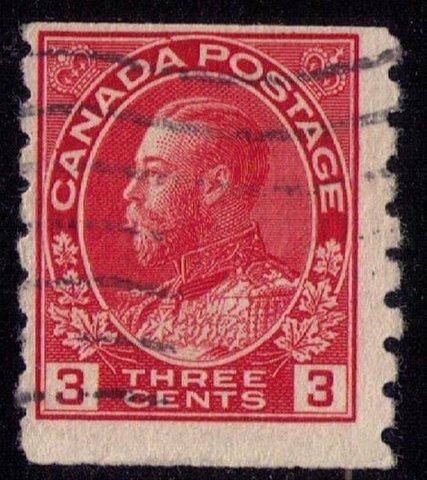 CANADA Sc 130  Used KGV 3c perf 8 vert. Fine