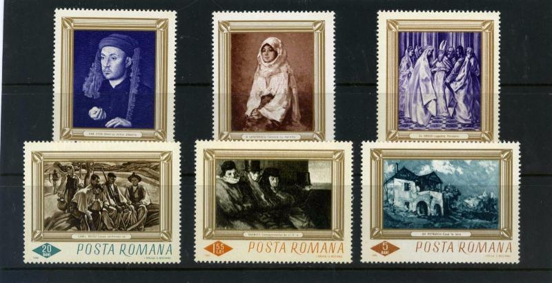 ROMANIA 1966 Sc#1859-1864 ART/PAINTINGS SET OF 6 STAMPS MNH