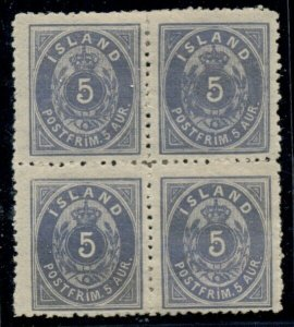 ICELAND #8 (23) 5aur blue p. 12 ½, og, hinged, Block of 4, VF, ex. Swanson,