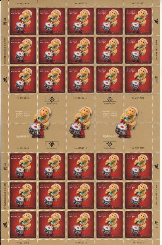 Aland 2015 MNH Complete Sheet of 30 Mechanical toy monkey EUROPA
