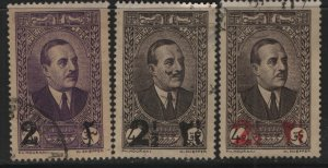 LEBANON, 145-146A, (3) SET, USED, 1937-42, President Emile Edde surcharged