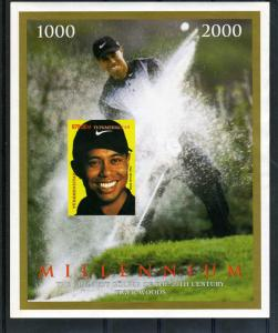 Turkmenistan Millennium Golf Tiger Woods s/s Perforated mnh.vf