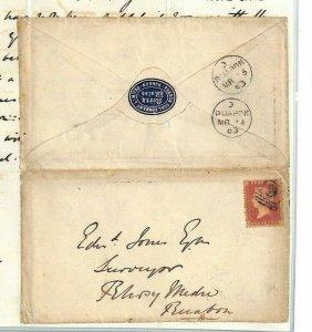 GB WALES Cover *Ruabon Coal Co* Letter 1863 1d Red MINING {samwells}MS2309