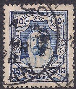 Transjordan 1927 - 29 KGV1 15 mil Ultramarine Emir Abdullah used SG 164 ( M697 )