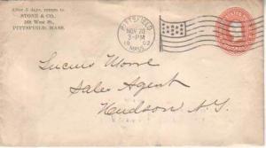 United States, Massachusetts, Machine Cancel, Postal Stationery, Flags