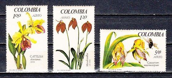 Colombia, Scott cat. C489-C491. Orchids with Bee.