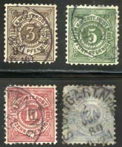 German States-Wurttemberg Scott 57, 59-61 - UFH - SCV $3.50
