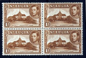 ST LUCIA King George VI 1948 One Shilling Perf 12 A BLOCK OF FOUR SG 135a MNH
