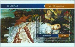 A0983 - MALDIVES, ERROR, MISPERF, Souvenir sheet: 2015, Gustave Courbet, Art