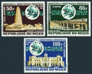 Niger C23-C25,MNH.Michel 34-36. Admission to UPU,1963.Mosque,Bridge,Palace.