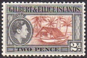 Gilbert & Ellice Islands 1939 2d Canoe and boathouse MH