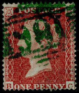 SG17, 1d red-brown, SC16 DIE I, FINE USED. Cat £450. GREEN DUBLIN MX. BC