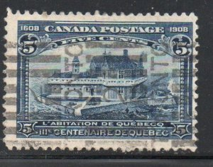 Canada Sc 99 1908 5c Champlain's House stamp used