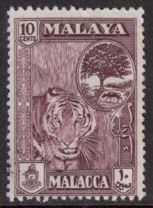 Malaya Malacca Scott 50 - SG44, 1957 Tiger 10c used