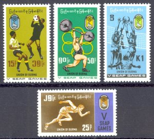 Burma Sc# 212-215 MNH 1969 Athletes