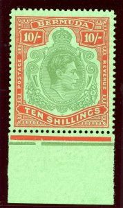Bermuda 1951 KGVI 10s green & vermilion/green (p13-O) superb MNH. SG 119e.