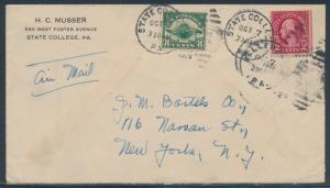 #C4 ON AIRMAIL COVER STATE COLLEGE, PA TO NEW YORK BR4528