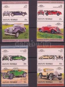 Tuvalu-Vaitupu stamp Cars (I) 4 pairs SPECIMEN MNH 1984 Mi 1-8 WS143097