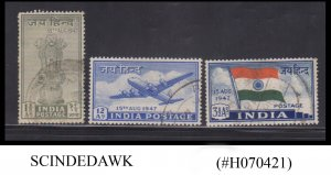 INDIA - 1947 INDEPENDENCE ISSUE SG#301-303 3V - USED