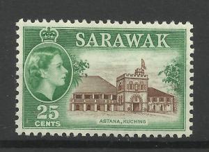 Sarawak 1955, Sg 197, 25c Sepia & Green, Lightly Mounted Mint. [1451]