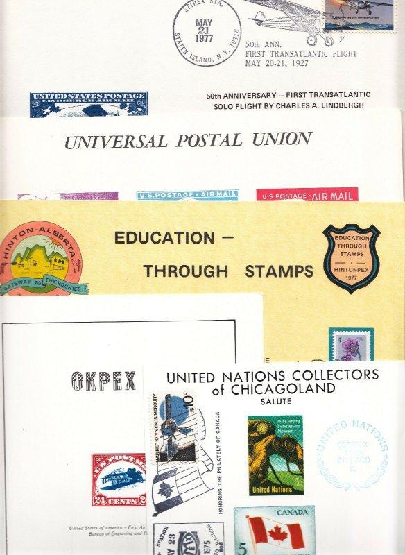 US 1974-81 Lot of 11 Unique Philatelic Society Souvenir Cards