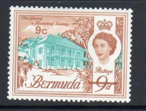 BERMUDA #182  1962  9p  QEII & LIBRARY SOCIETY     MINT  VF NH  O.G
