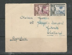Gambia 1947 Commercial Letter to Scotland, with 1d & 1 1/2d GV1, Bathurst cds