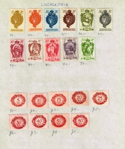 Liechtenstein STAMP MINT STAMPS ON PAGE COLLECTION LOT