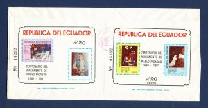 ECUADOR - # 1017A & C731 Two Picasso S/S on cover mailed to USA - 1984 - 2 SCANS