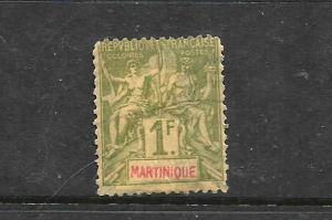 MARTINIQUE 1892   1f  PEACE & COMMERCE FU  SG 45