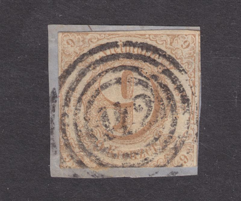 Thurn & Taxis Sc 55 used. 1862 9k Numeral with 142 in 4 ring target canc