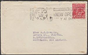 AUSTRALIA 1930 GV 2d on cover Sydney to NZ : Posted in Pillar Box slogan...57266