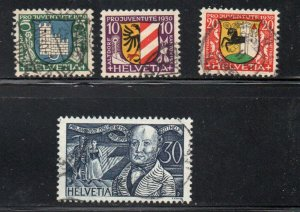 Switzerland Sc B53-56 Pro Juventute Coats of Arms stamp set used