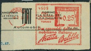90512 - ITALY - POSTAL HISTORY - RED Mechanical Postmak - FIAT Automobiles  1936