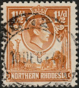 NORTHERN RHODESIA - 1945 -  MONZE  CDS on SG30 KGVI 1-1/2d yellow-brown