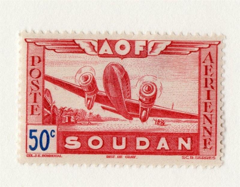 French Sudan 1940s Air Mail Early Issue Fine Mint Hinged 50c. 229535