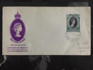 1953 Pitcairn Island First Day Cover QE II Queen Elizabeth coronation FDC