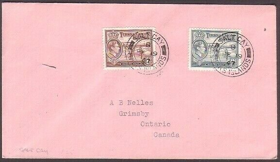 TURKS & CAICOS 1947 cover to Canada - SALT CAY cds.........................35251