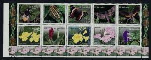 Salvador 1587 Bottom Block MNH Flowers, Insects, Butterflies