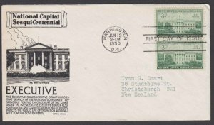 USA 1950 Whitehouse - C Stephen Anderson commem FDC to New Zealand..........M125
