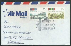 AUSTRALIA 1992 cover to Germany - nice franking - Sydney pictorial pmk.....12827