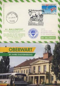 AUTRICHE / AUSTRIA / ÖSTERREICH 1989 81st Ballon Post Flight Post Card